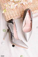 Женские туфли лодочки серебро омбре с принтом на каблуке 11 см эко кожа