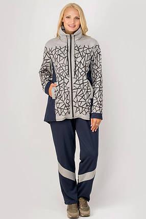 Женский просторный спортивный костюм прямого покроя Айден, цвет серый / размер 54-68, фото 2