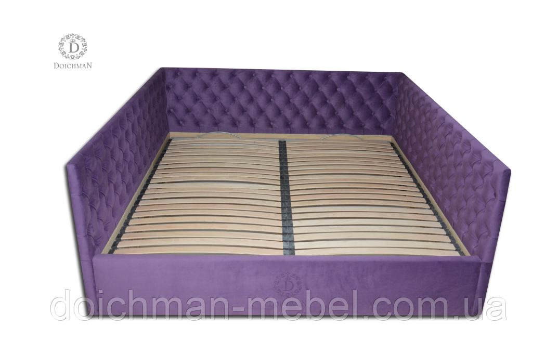 """Мягкая двуспальная кровать """"Лувр"""" с тремя мягкими боковушками в стиле """"каретная стяжка"""""""