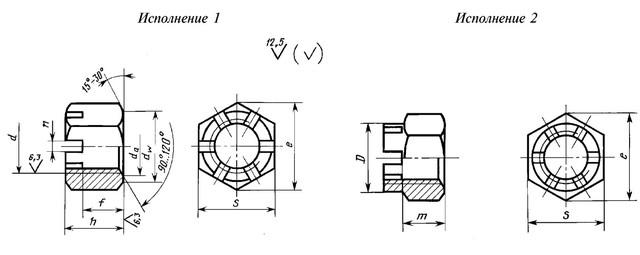 Гайка М22 ГОСТ 5918-73 класс прочности 10.0 - чертеж