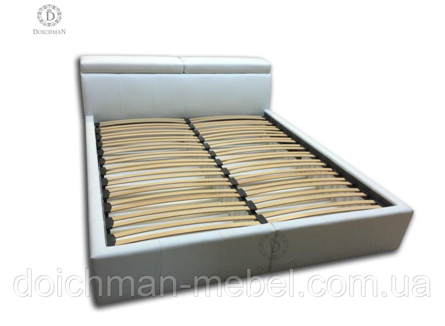 Двоспальне ліжко з регульованими підголівниками на ламелях