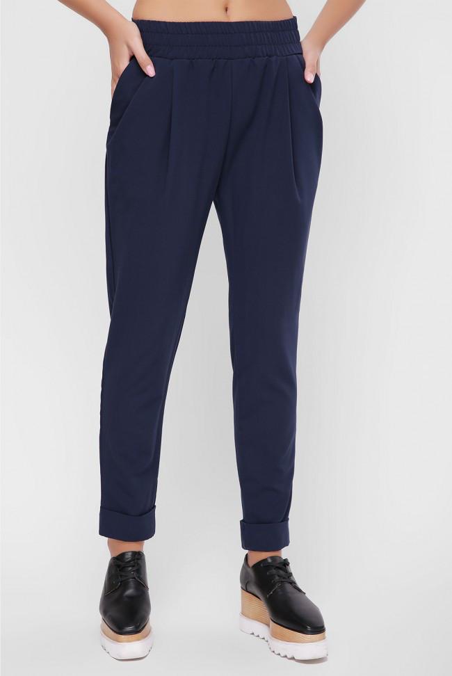 8ef6e8e2 Стильные женские брюки с подворотами темно-синие -