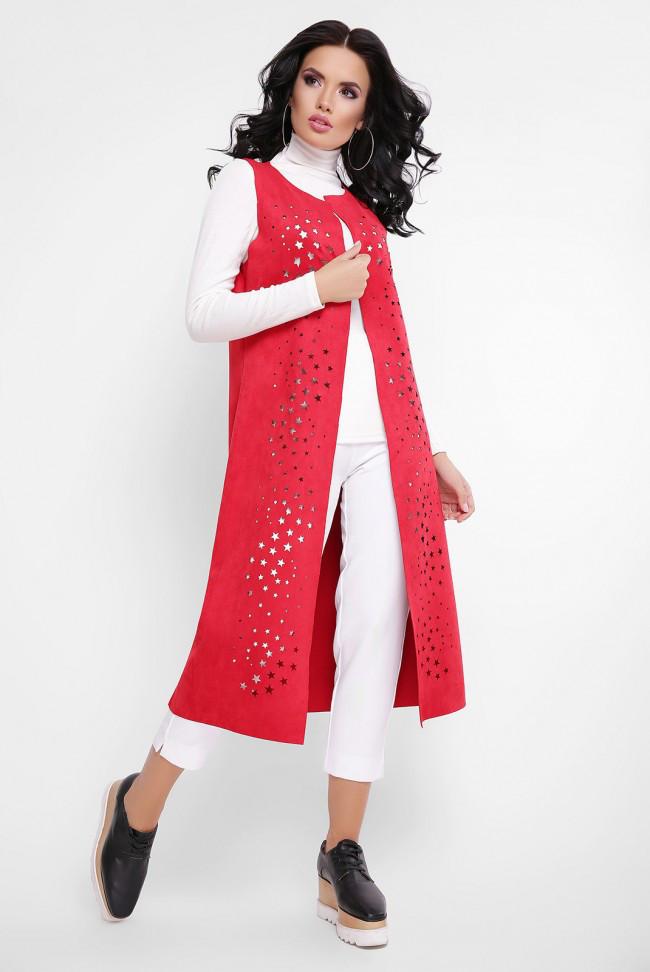 Удлиненный стильный кардиган из экозамши красный