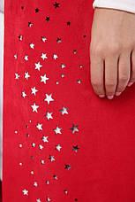 Удлиненный стильный кардиган из экозамши красный, фото 3