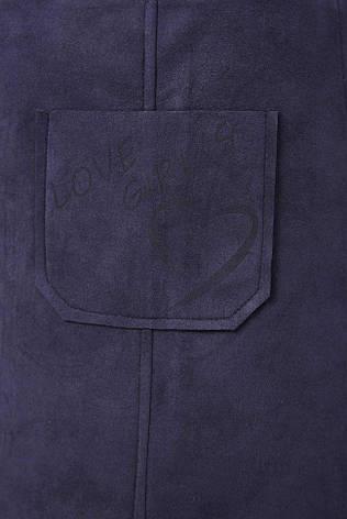 784c3d236d7 Стильный женский короткий свободный сарафан из замши с карманом спереди