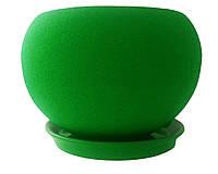 """Копия  Цветочный горшок 2 л """"Шар"""" шелк зеленый керамический."""