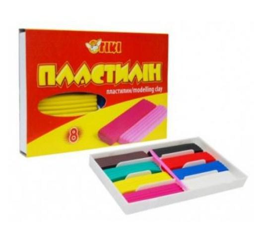 Пластилін  8 кол. 160г пласт.упак. ТК-52105 (24/72) (ТІКІ)