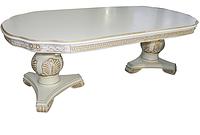 Обеденный стол Р-66 раскладной белый + золото