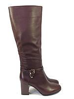 Осенние сапоги на каблуке кожаные цвета бордо