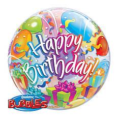 """Шар Bubble Бабл 22""""/56 см Шарики Happy birthday (Qualatex)"""