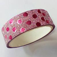 Декоративный скотч цветной 1,5см*2м, перламутр, круги розовые, фото 1