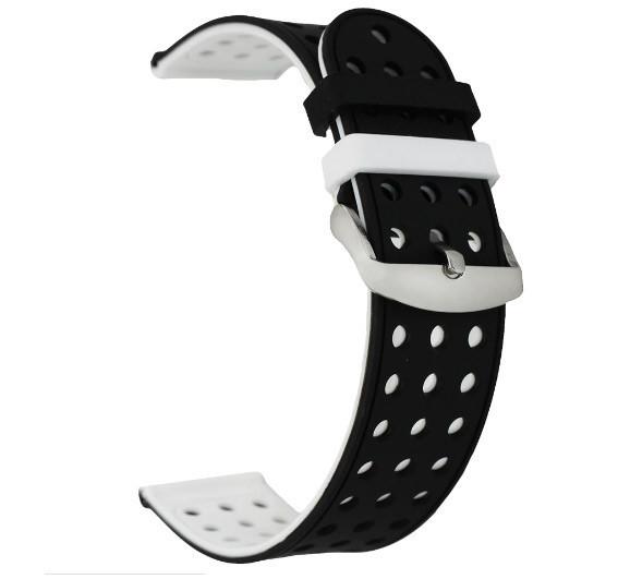 Двухсторонний ремешок с перфорацией для часов Motorola Moto 360 2nd gen (42 mm) - Black&White