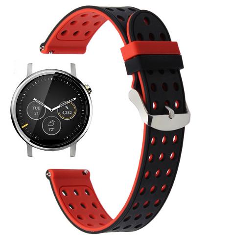 Подвійний ремінець з перфорацією для годин Motorola Moto 360 2nd gen (42 mm) - Black&Red