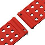 Подвійний ремінець з перфорацією для годин Motorola Moto 360 2nd gen (42 mm) - Black&Red, фото 6