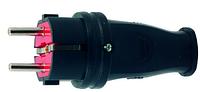 Вилка каучуковая с заземлением Luxel черная
