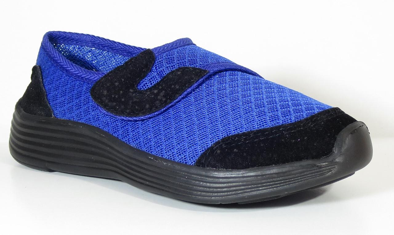 Детские повседневные текстильные кроссовки синие на липучке для мальчика VITALIYA