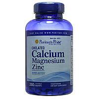 Кальций Магний Цинк хелат, Chelated Calcium Magnesium Zinc, Puritan's Pride, 250 таблеток