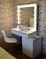 Гримерный столик с тумбой сбоку, зеркало на надставке с лампами