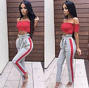 Женские брюки с лампасами с завышенной талией