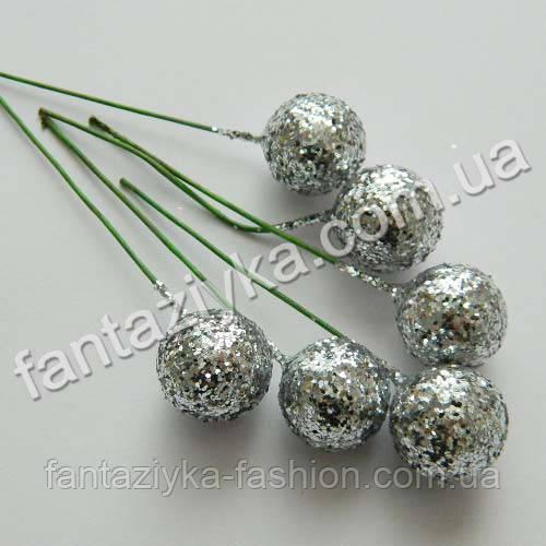 Блестящий шарик на проволочке 15мм, серебряный