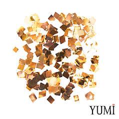 Конфетти квадратики золото, 8 мм