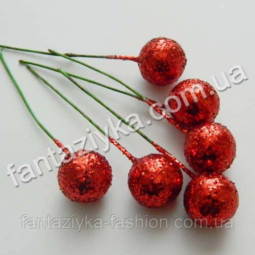 Блестящий шарик на проволочке 15мм, красный