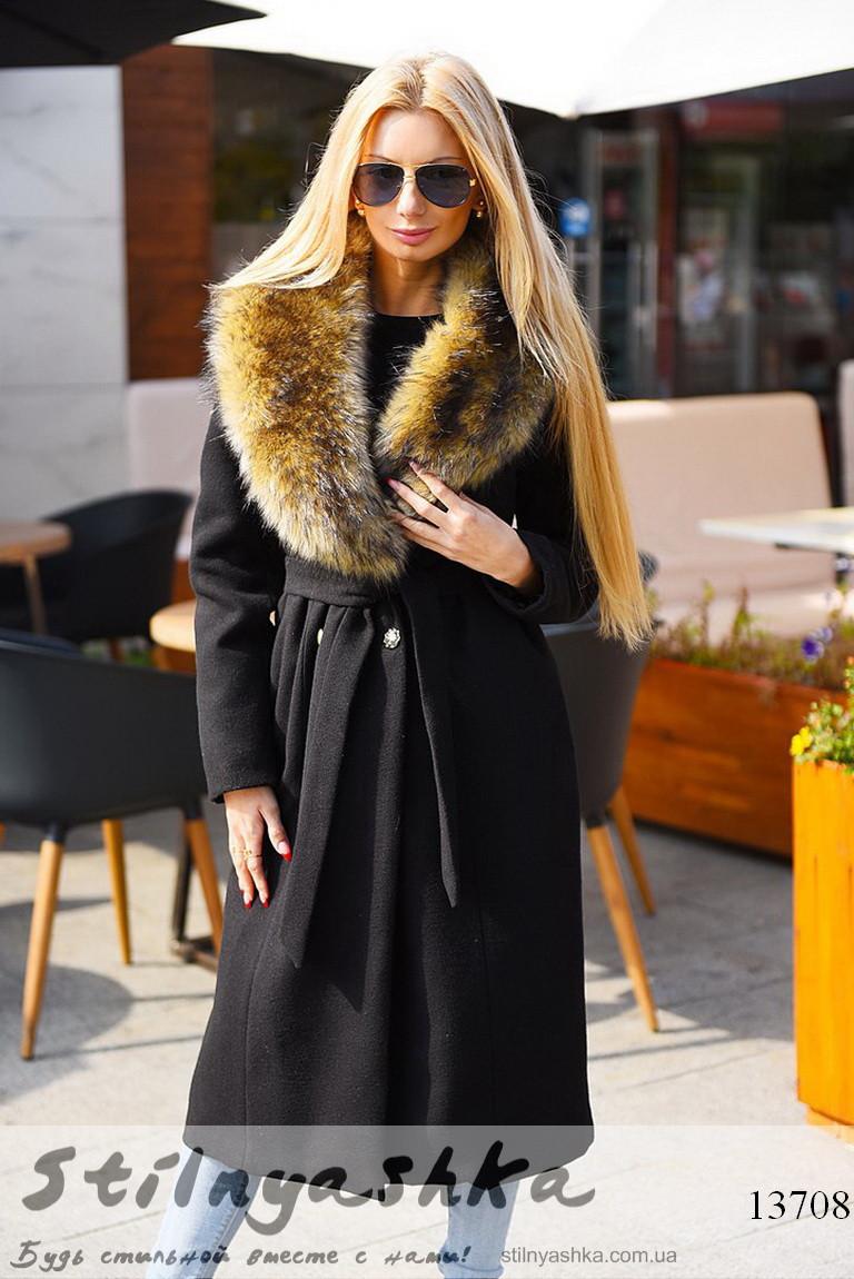 Удлиненное зимнее кашемировое пальто черное, фото 1