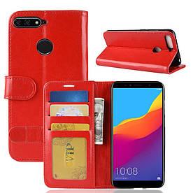 Чехол книжка для Huawei Honor 7C AUM-L41 боковой с отсеком для визиток, ORIGINAL CASE, Красный