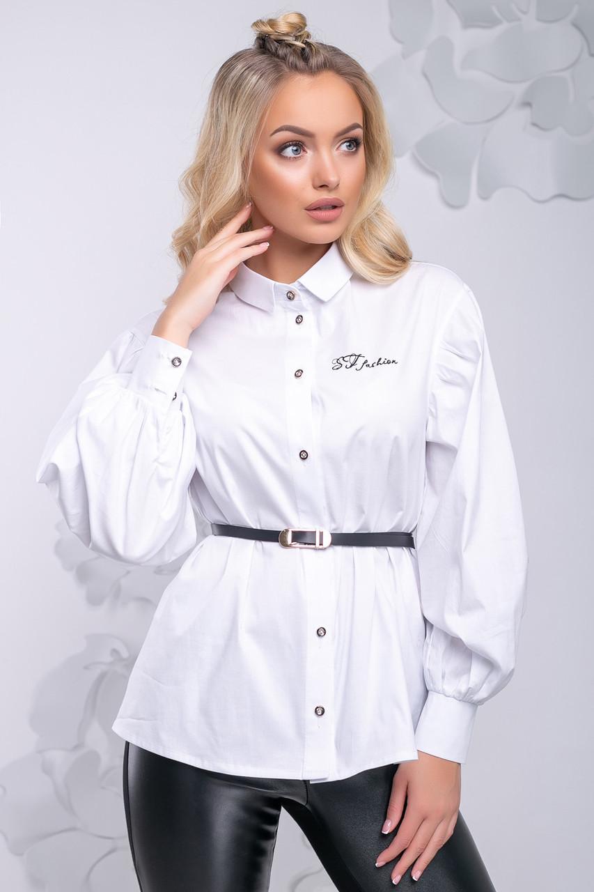 Женская белая блузка из стрейч коттона