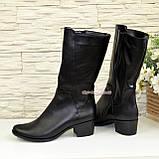 Женские кожаные демисезонные ботинки на невысоком каблуке, фото 3