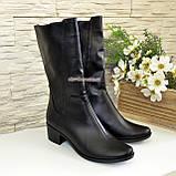 Женские кожаные демисезонные ботинки на невысоком каблуке, фото 4