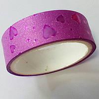 Декоративный скотч цветной 1,5см*2м, сердечки розовый перламутр, фото 1