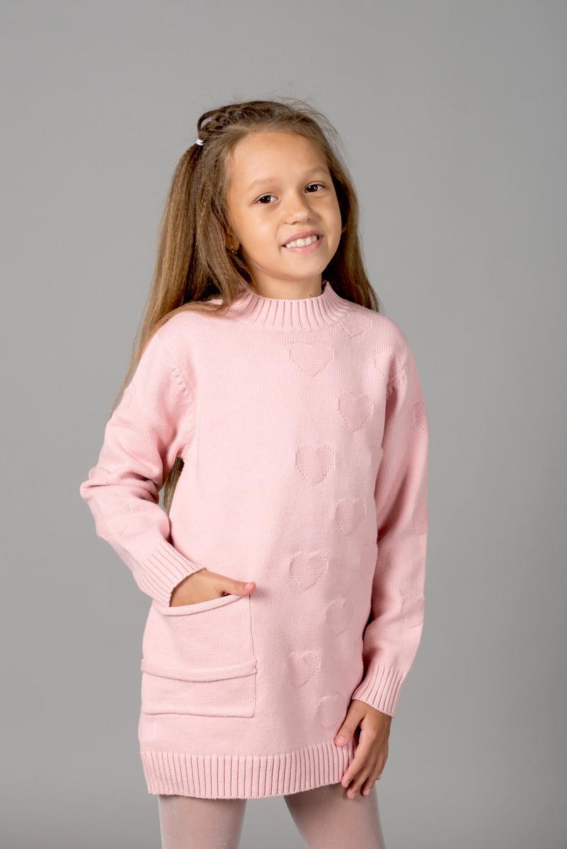 Свитер-туника Many&Many для девочки бледно-розового цвета, Сердечки.