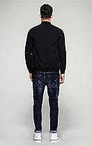 Мужская черная демисезонная куртка бомбер, фото 3