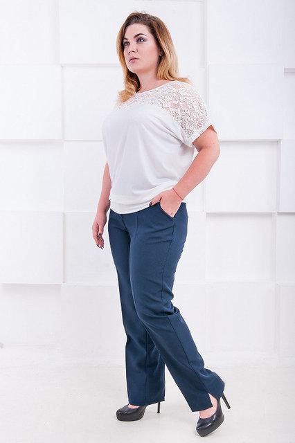 Темно-синие классические брюки большого размера Джуди 52-60 р
