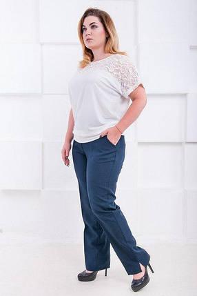 Темно-синие классические брюки большого размера Джуди 52-60 р, фото 2
