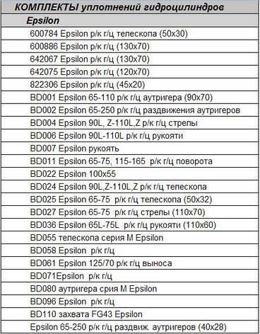 Ремкомплекты к гидроцилиндрам Epsilon, фото 2