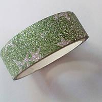 Декоративный скотч цветной 1,5см*2м, звезды салатовый перламутр, фото 1