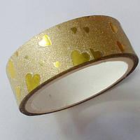 Декоративный скотч цветной 1,5см*2м, сердечки перламутр золото, фото 1