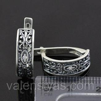 Серебряные серьги классические ажурные, фото 2