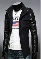 """Стильная куртка - тренч """"Hangout"""" кашемировая, рукава из кожзам Чёрный, Размер L"""