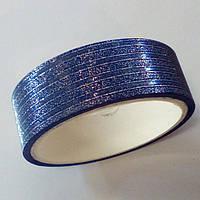 Декоративный скотч цветной 1,5см*2м, линии синий, фото 1