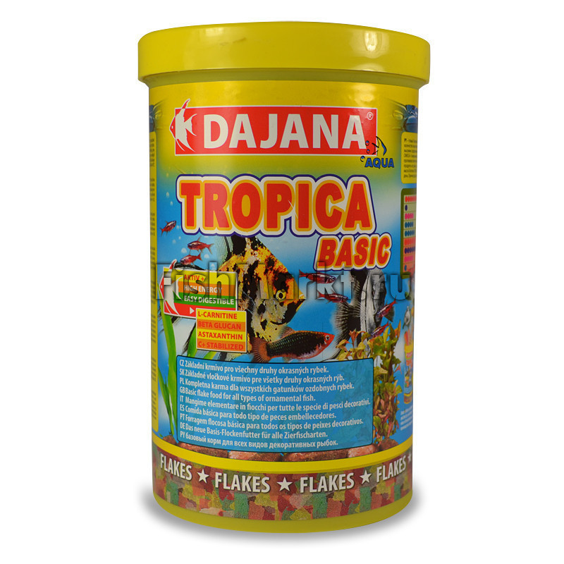 Dajana Tropica Basic 1кг -полноценное питание для аквариумных рыбок из 7 видов хлопьев (5740)