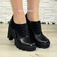 Женские стильные туфли на шнуровке, высокий каблук. Натуральная кожа питон и замш