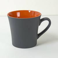 Керамічна чашка сіра матова з зовнішньої сторони і глянсова зсередини, фото 1