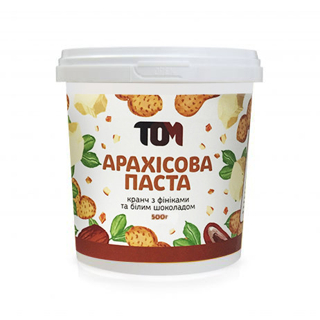 Арахисовая паста ТОМ Финик с белым шоколадом 500г