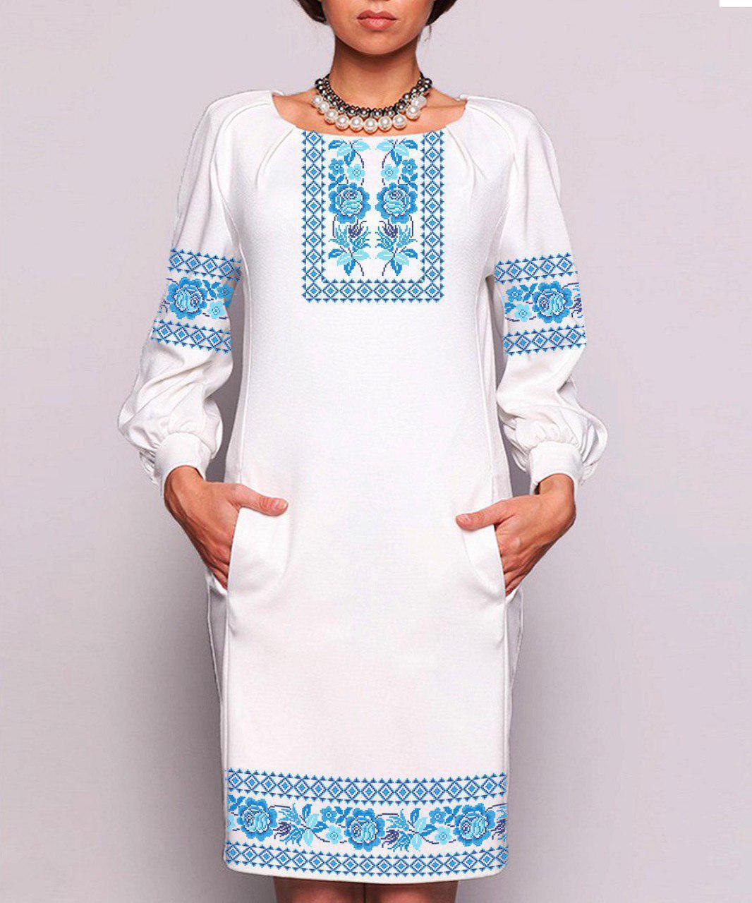 Заготовка жіночого плаття чи сукні для вишивки та вишивання бісером Бисерок  «Уквітчана весна 180» (П-180)