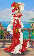 """Схема для вышивки бисером/крестом на габардине """"Венецианская дама"""""""