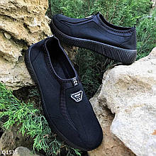 Мужские текстильные кроссовки без шнурков черные