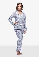 Теплая байковая пижама  П600 Барашки розовые на сером